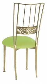 Gold Bella Fleur with Lime Green Velvet Cushion