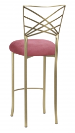 Gold Fanfare Barstool with Raspberry Suede Cushion