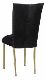 Matte Black Croc Chair Cover with Black Stretch Knit Cushion on Gold Legs