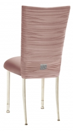 Chloe Blush Stretch Knit Chair Cover with Rhinestone Accent and Cushion on Ivory Legs