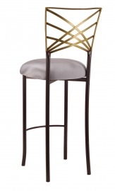 Two Tone Gold Fanfare Barstool with Silver Stretch Knit Cushion