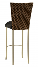 Chocolate Suede with Black Chenille Circle Barstool Cover and Black Velvet Cushion on Gold Legs