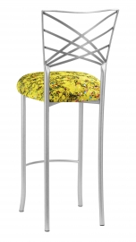 Silver Fanfare Barstool with Yellow Paint Splatter Knit Cushion