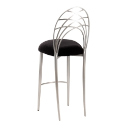 Silver Piazza Barstool with Black Velvet Cushion
