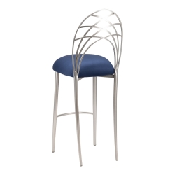 Silver Piazza Barstool with Blue Suede Cushion