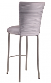 Chloe Silver Stretch Knit Barstool Cover and Cushion on Silver Legs