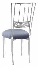Silver Bella Fleur with Steel Velvet Cushion