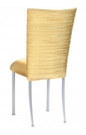 Chloe Gold Stretch Knit Chair Cover and Cushion on Silver Legs