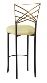 Two Tone Gold Fanfare Barstool with Lemon Ice Taffeta Boxed Cushion