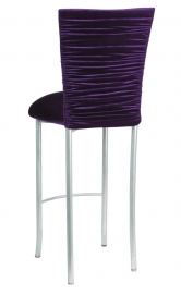Chloe Eggplant Velvet Chair Cover and Cushion on Silver Legs