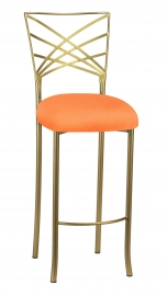 Gold Fanfare Barstool with Tangerine Knit Cushion