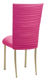 Chloe Fuchsia Stretch Knit Chair Cover and Cushion on Gold Legs