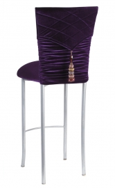 Eggplant Velvet Chloe Chair Cover with Eggplant Hat and Tassel with cushion on Silver Legs