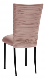Chloe Blush Stretch Knit Chair Cover with Jewel Band and Cushion on Black Legs