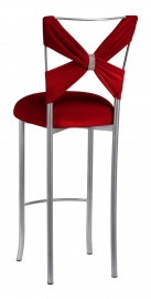Simply X Barstool with Red Velvet Criss Cross and Rhinestone Accent