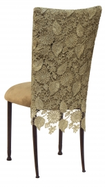 Burlap Chantilly 3/4 Chair Cover with Camel Suede Cushion on Mahogany Legs