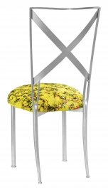 Silver Simply X with Yellow Paint Splatter Cushion