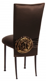 Brown Satin 3/4 Chair Cover with Rosette and Cushion on Mahogany Legs