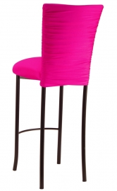 Chloe Hot Pink Stretch Knit Barstool Cover and Cushion on Brown Legs