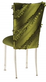 Olive Taffeta Petals Chair Cover with Olive Velvet Cushion on Ivory Legs