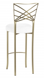 Gold Fanfare Barstool with White Linette Boxed Cushion