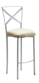 Simply X Barstool with Ivory Sateen Stripe Cushion
