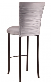 Chloe Silver Stretch Knit Barstool Cover and Cushion on Brown Legs