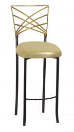 Two Tone Fanfare Barstool with Metallic Gold Knit Cushion