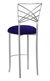 Silver Fanfare Barstool with Navy Stretch Knit Cushion