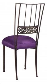 Mahogany Bella Fleur with Purple Taffeta Boxed Cushion