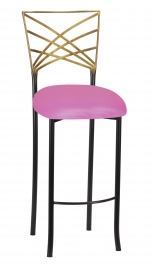 Two Tone Fanfare Barstool with Pink Glitter Knit Cushion