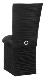Chloe Black Stretch Knit Chair Cover with Jewel Band, Cushion and Skirt