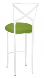 Simply X White Barstool with Lime Stretch Knit Cushion