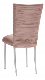 Chloe Blush Stretch Knit Chair Cover with Jewel Band and Cushion on Silver Legs