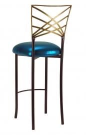 Two Tone Gold Fanfare Barstool with Metallic Teal Cushion