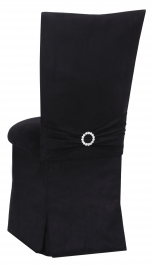Black Suede Chair Cover with Jewel Belt, Cushion and Skirt