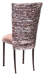 Blush Bedazzled Chair Cover and Blush Stretch Knit Cushion on Mahogany Legs