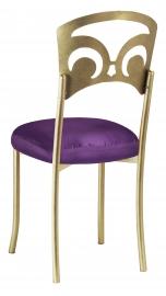 Gold Fleur de Lis with Purple Taffeta Boxed Cushion