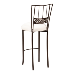 Bella Fleur Mahogany Barstool with Ivory Stretch Knit Cushion