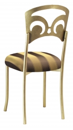 Gold Fleur de Lis with Gold & Brown Striped Cushion