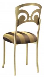 Gold Fleur de Lis with Gold & Brown Striped Cushion