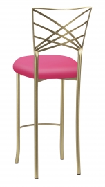 Gold Fanfare Barstool with Fuchsia Satin Cushion