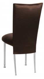 Brown Satin 3/4 Chair Cover and Cushion on Silver Legs