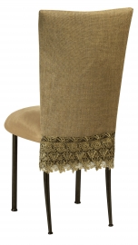 Burlap Flamboyant 3/4 Chair Cover with Camel Suede Cushion on Brown Legs