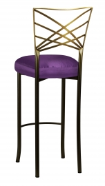 Two Tone Fanfare Barstool with Purple Taffeta Boxed Cushion