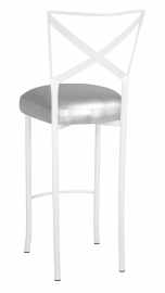 Simply X White Barstool with Silver Leatherette Boxed Cushion