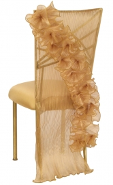 Ruffles with Coquette Chair Cover with Gold Stretch Knit Cushion on Gold Legs