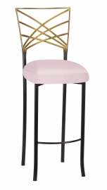 Two Tone Fanfare Barstool with Soft Pink Satin Boxed Cushion