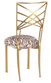 Gold Fanfare with Zebra Stretch Knit Cushion