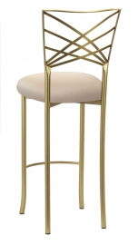 Gold Fanfare Barstool with Buttercream Knit Cushion